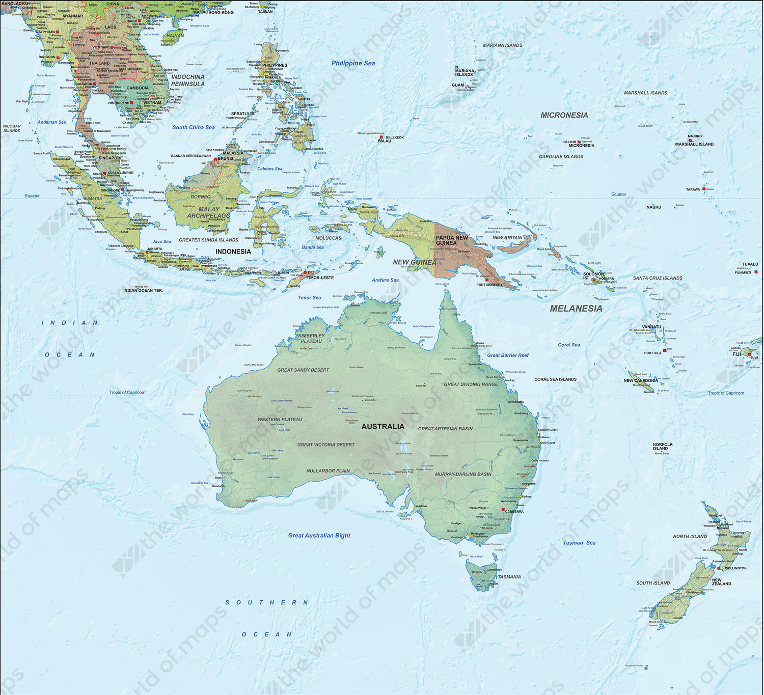 Digital Physical Map Oceania with relief 1296 The World of Mapscom