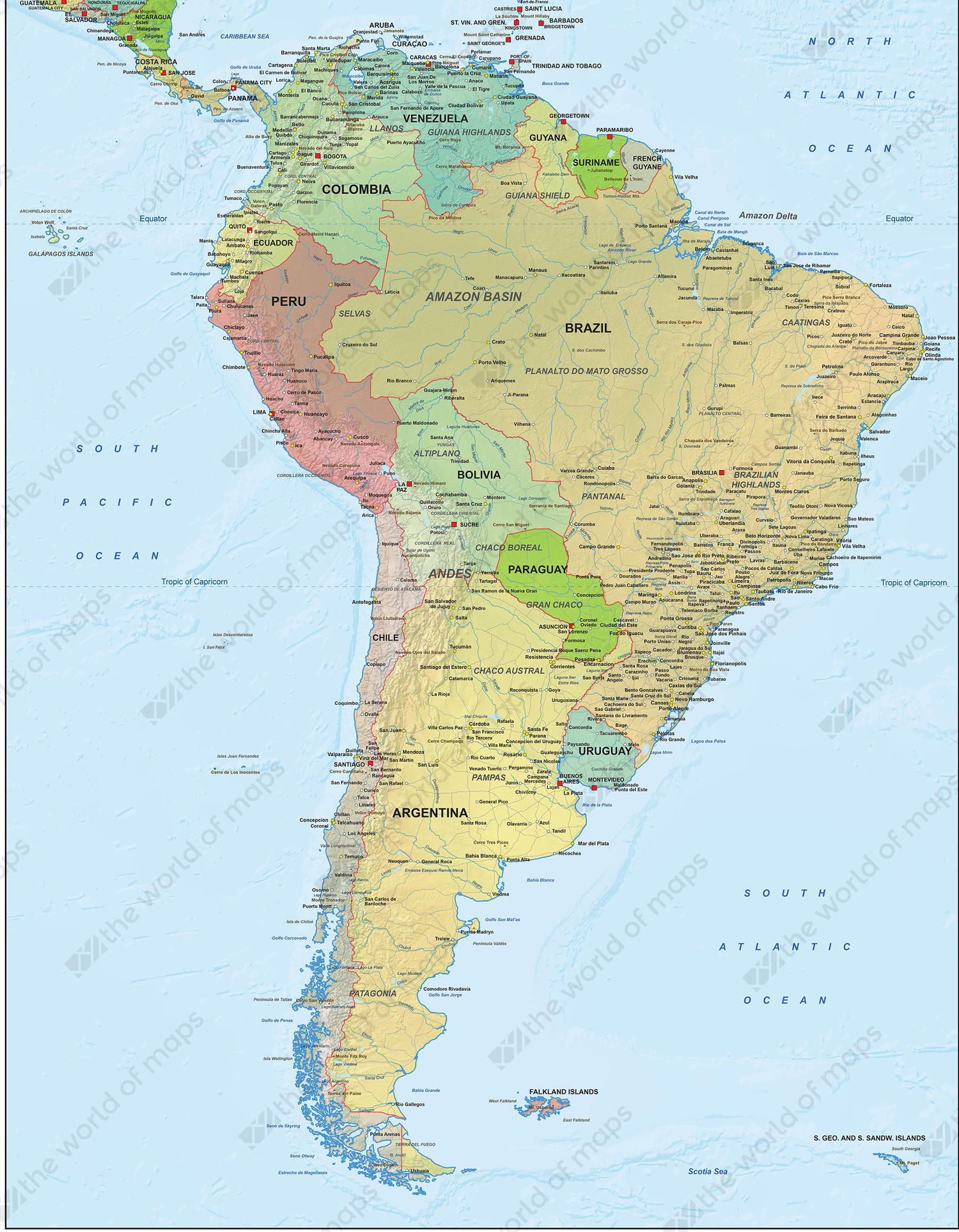 Digital Political Map South America 1292 | The World of Maps.com