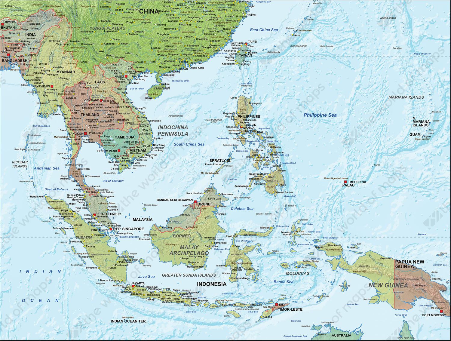 Digital Political Map South East Asia with relief 1313 | The World ...