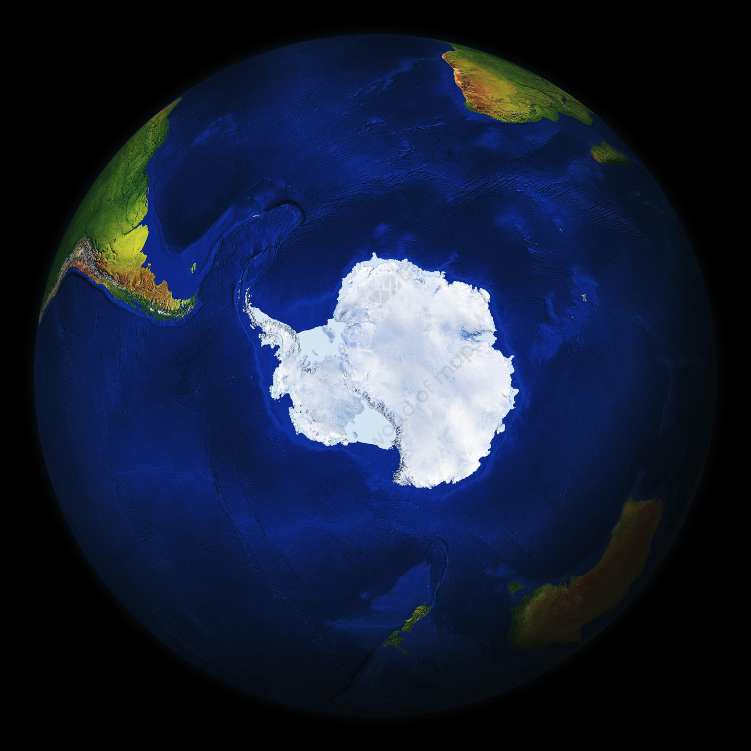Digital globe Antarctica with relief