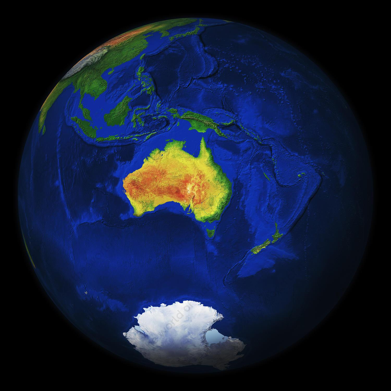 Digital globe image Australia with relief
