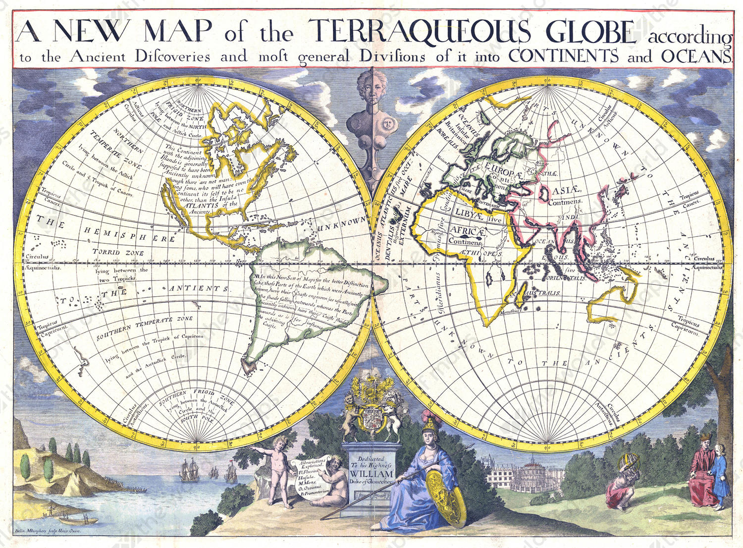 Digital World Map year 1700 Edward Wells | The World of Maps.com