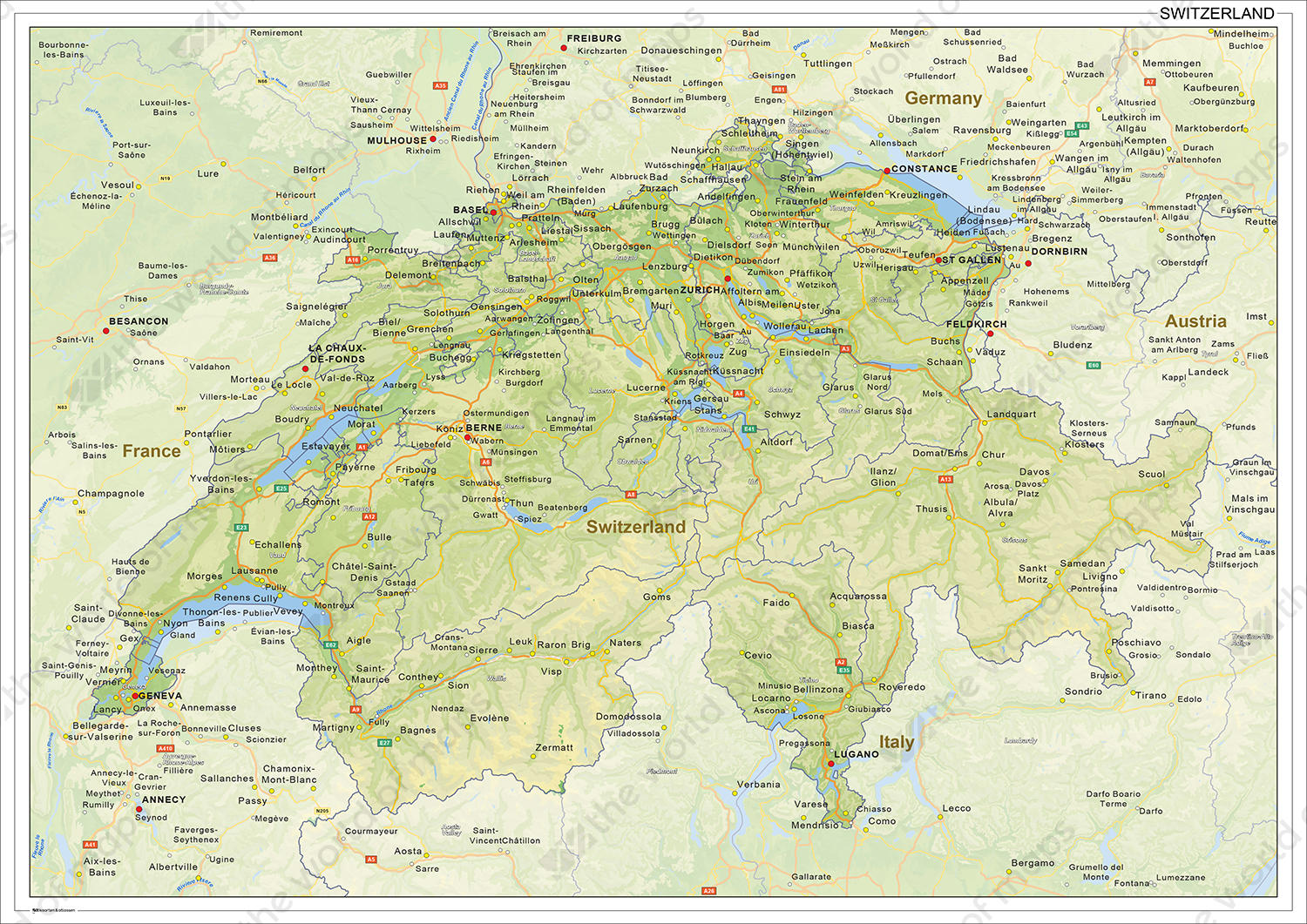 Digital physical map of Switzerland