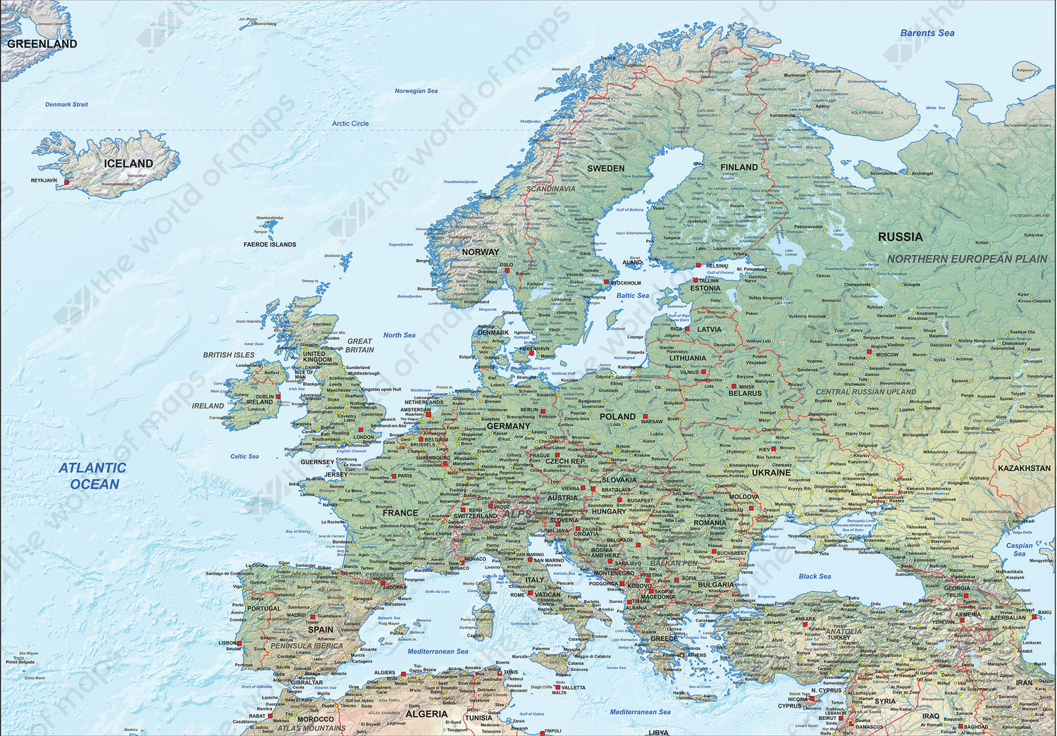 vector Map Europe Physical 1287 The World of Mapscom
