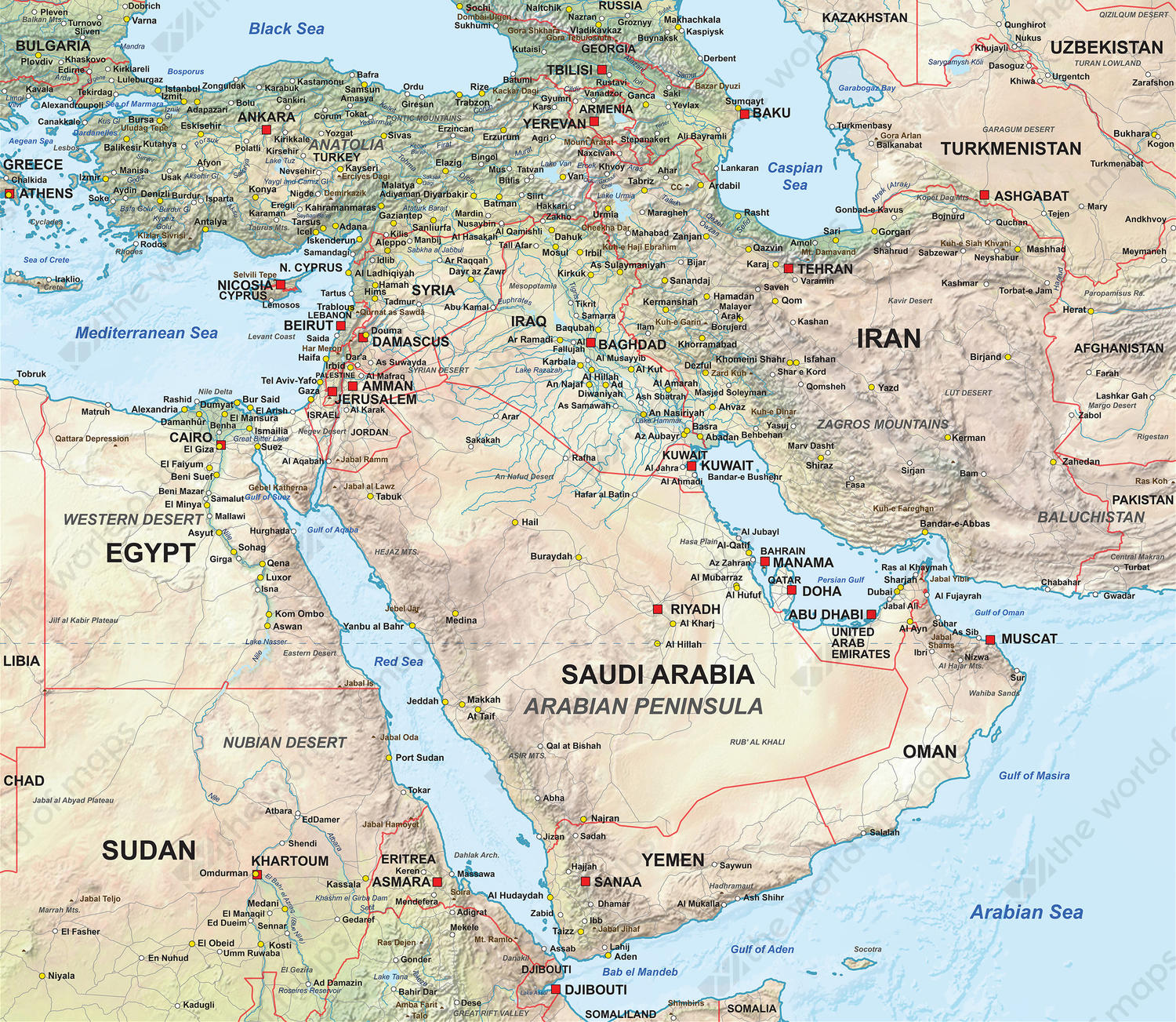 Digital map Middle East physical