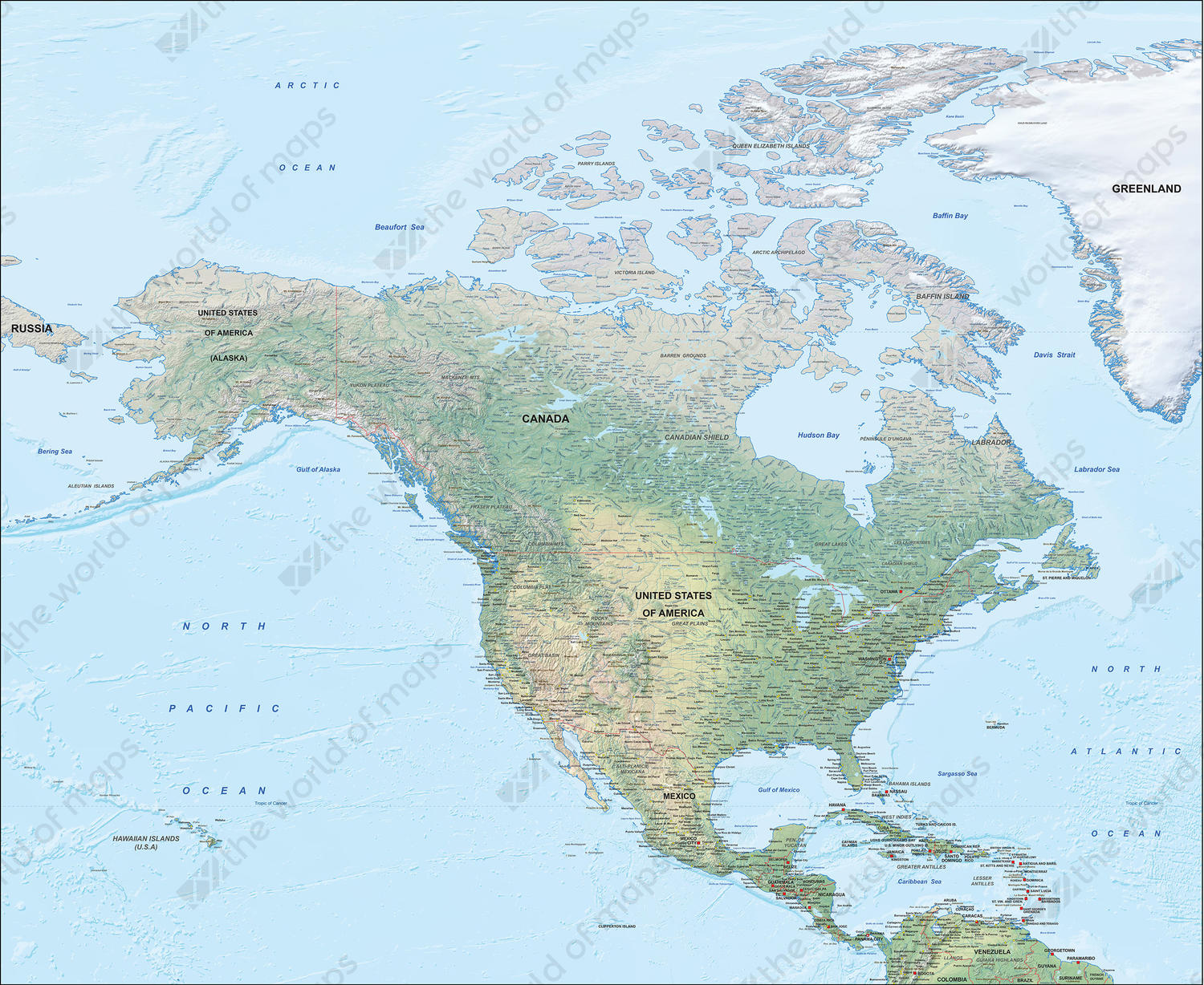 Digital Physical Map of North America 1285 | The World of Maps.com