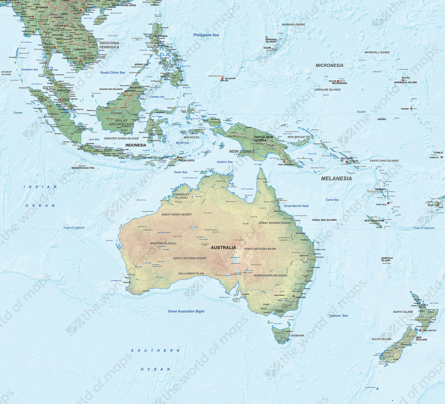 Digital map Oceania physical