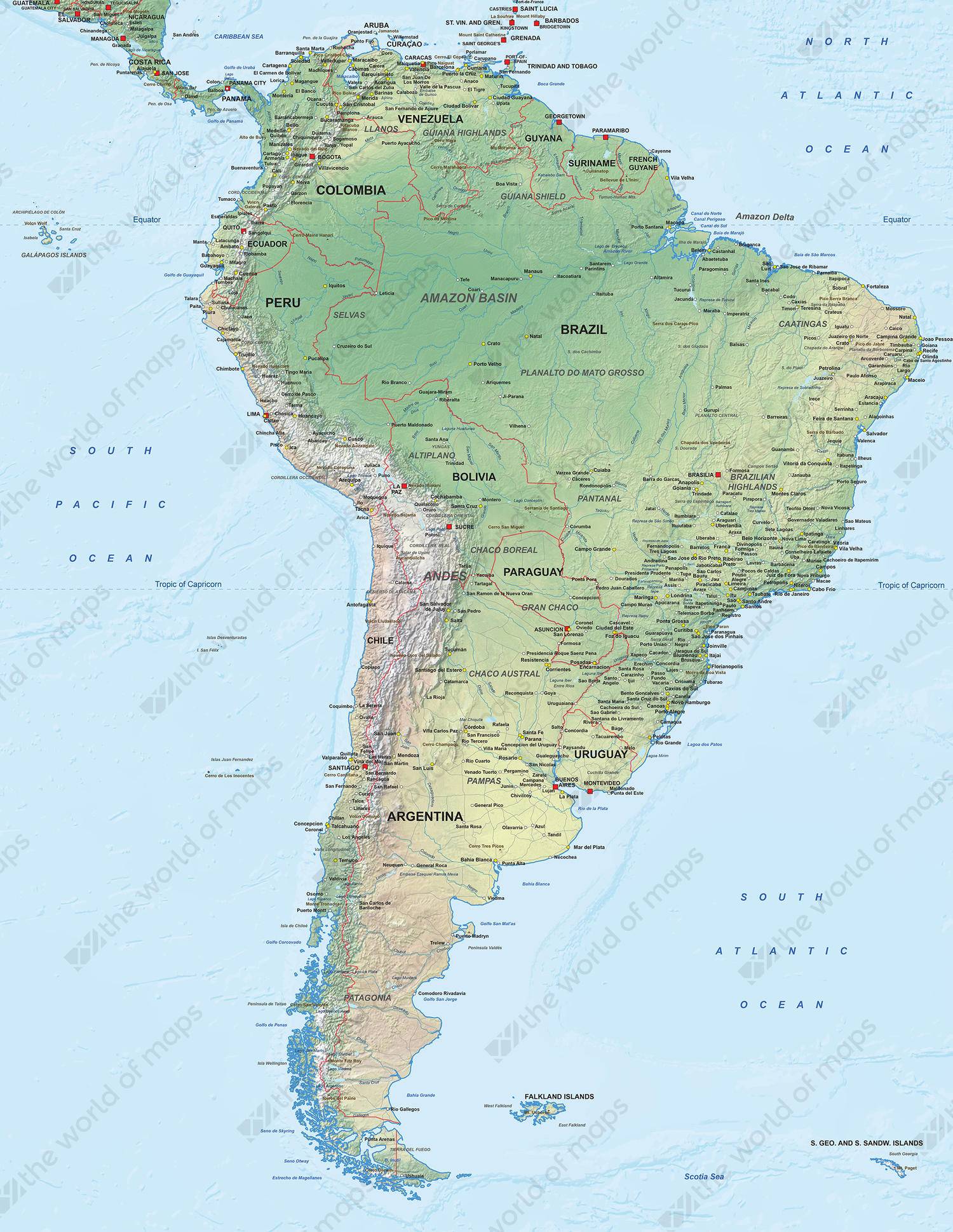 Digital Map South America Physical The World Of Mapscom - Aruba physical map