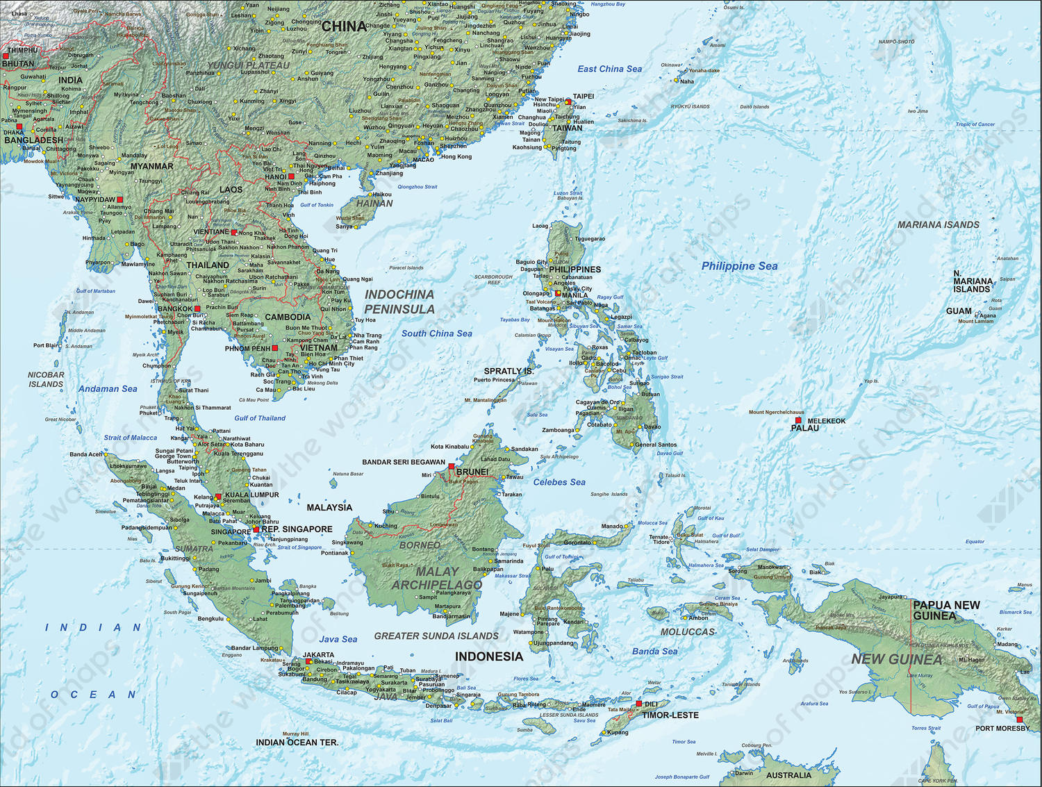 Physical Digital Map South East Asia 1309 | The World of ...