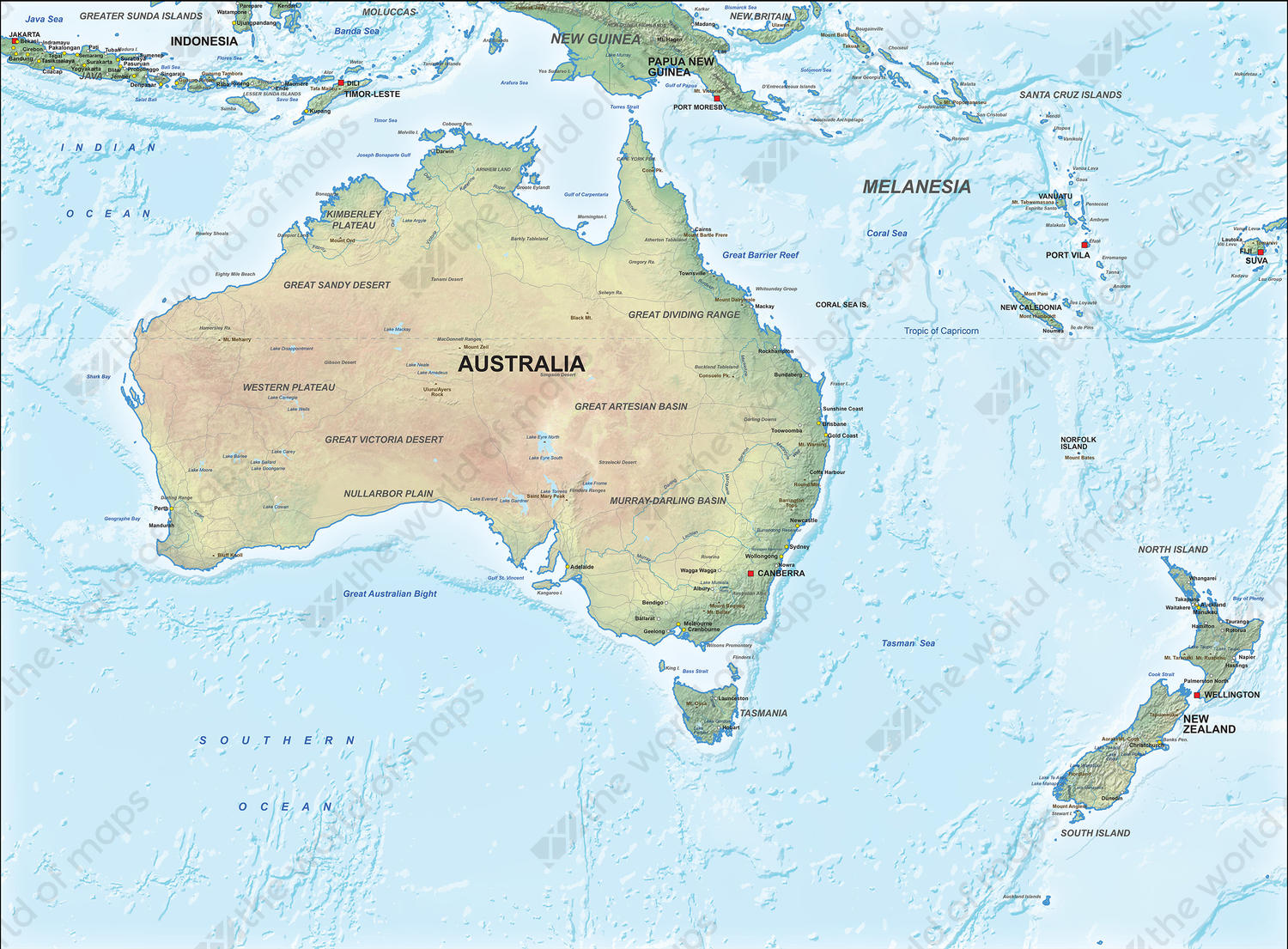 Digital map Australie physical