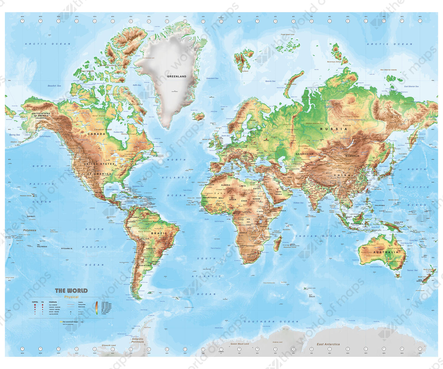 Digital physical map of The World medium 1502 The World of Mapscom