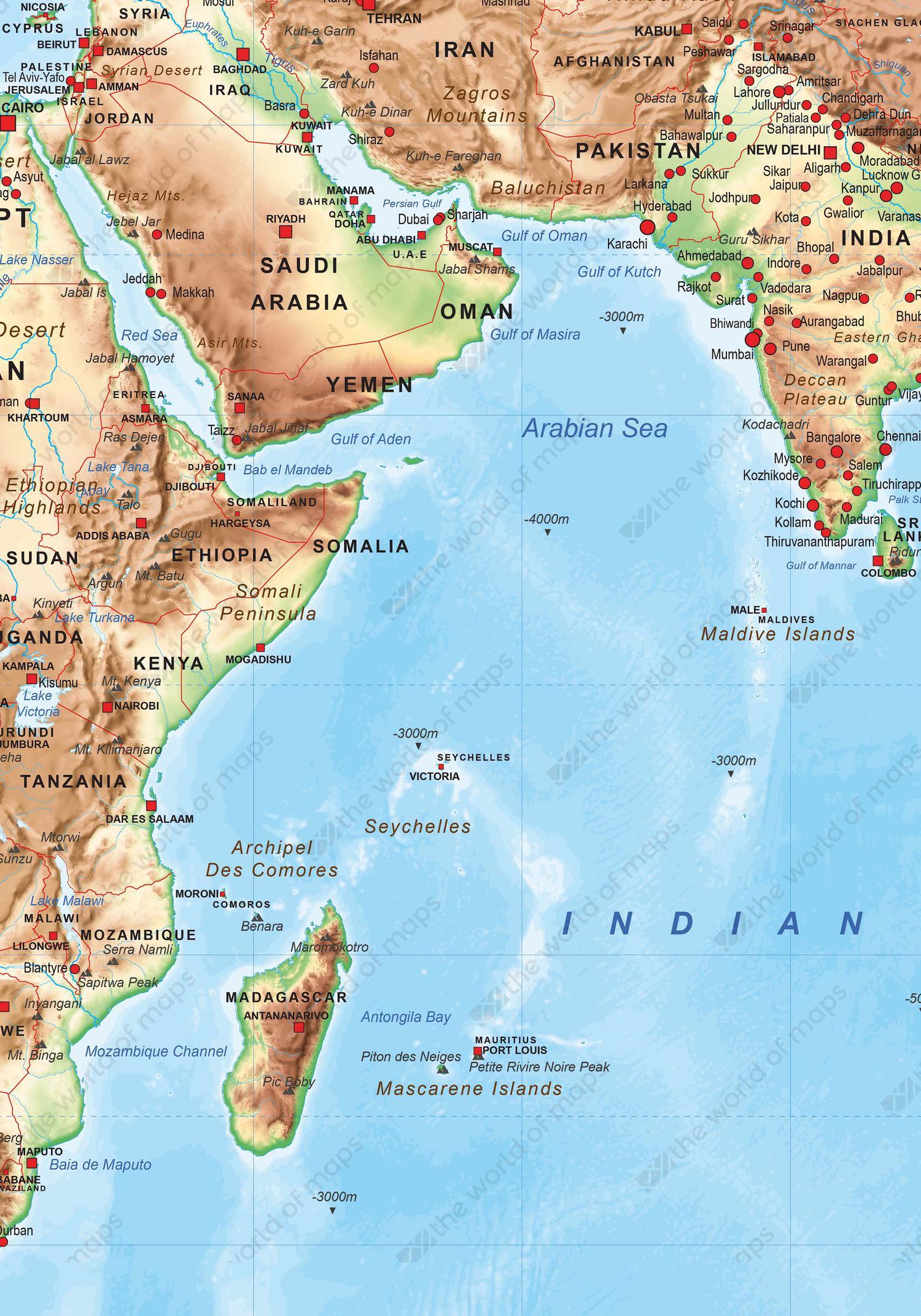 Digital physical map of The World medium 1502 The World of Mapscom