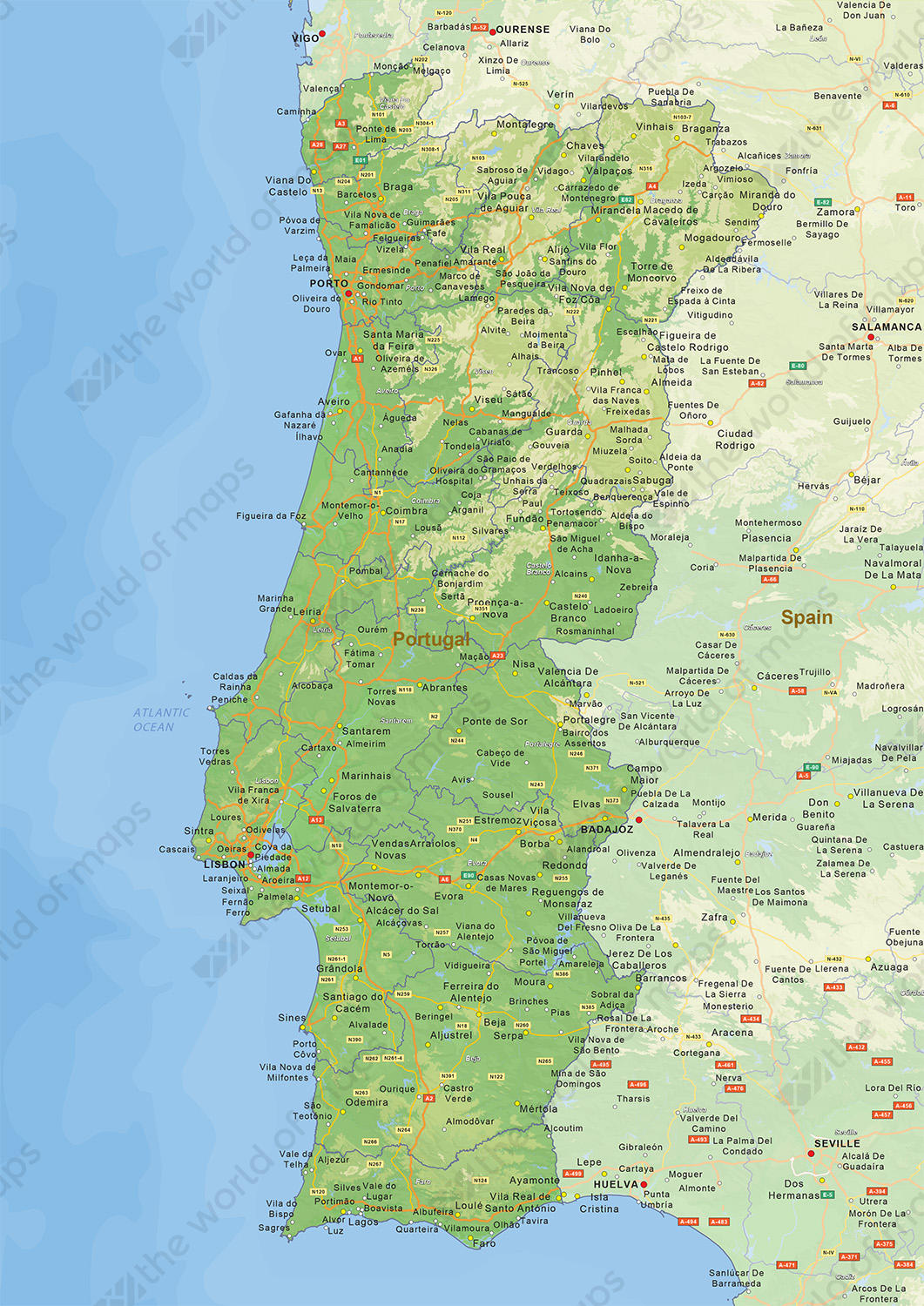 Image of: Digital Physical Map Of Portugal 1459 The World Of Maps Com