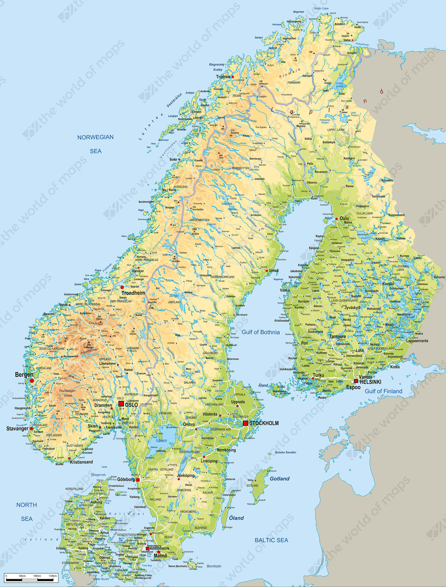 Digital Map Scandinavia Physical 54 The World of Mapscom