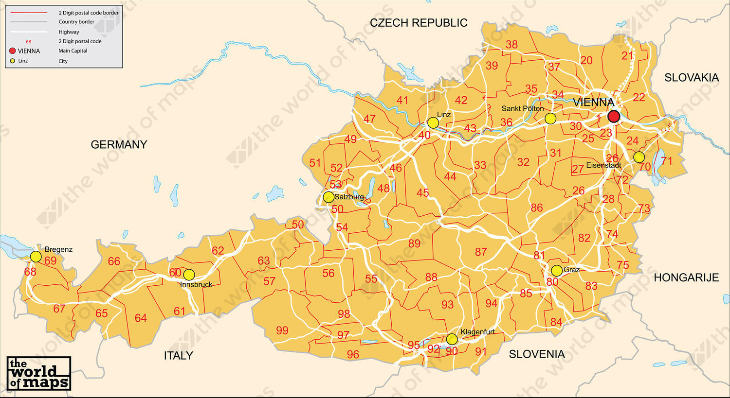 Image of: Digital Zip Code Map Austria 2 Digit 70 The World Of Maps Com