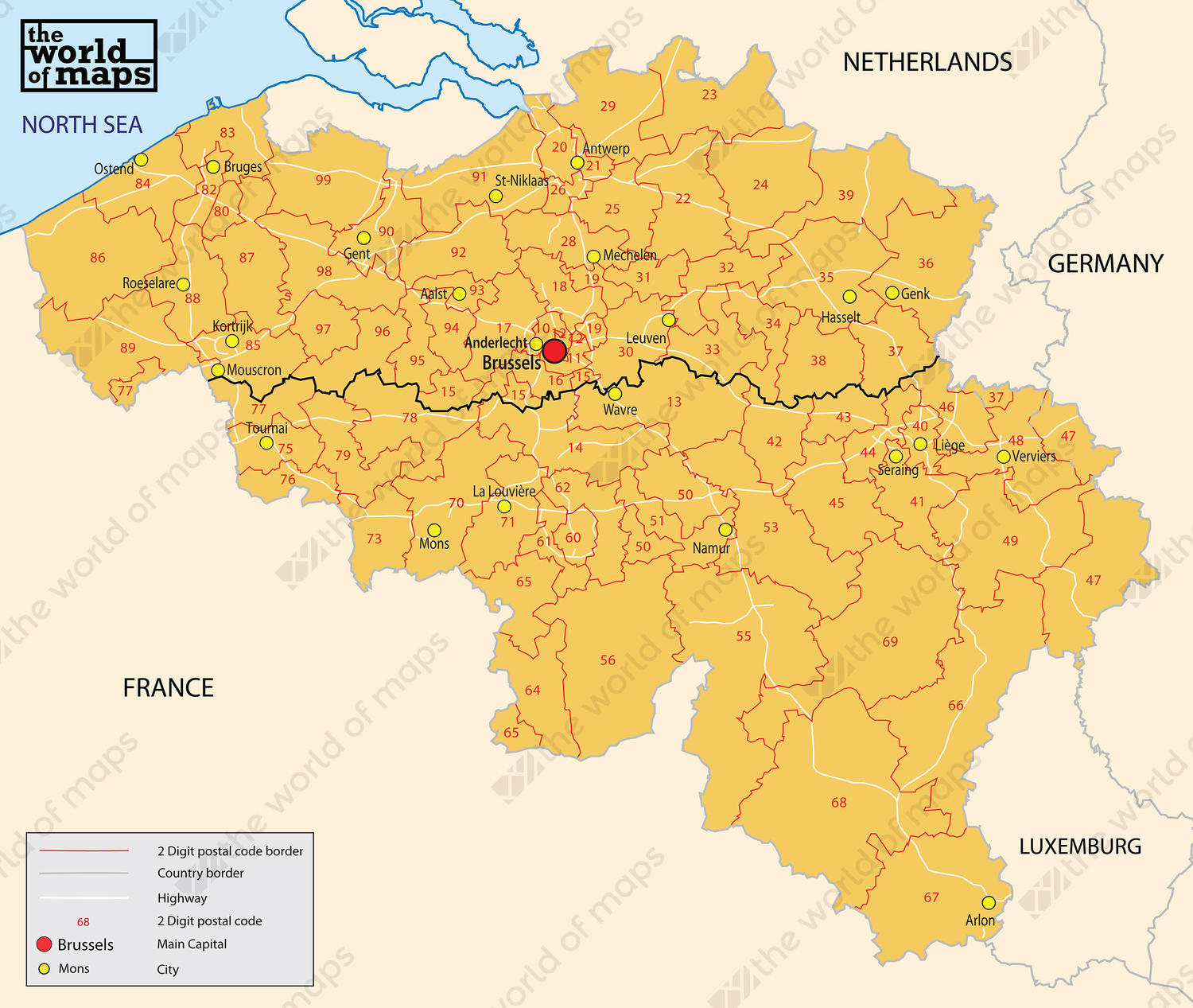 Digital ZIP code map Belgium 2digit 72 The World of Mapscom