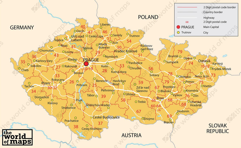 Digital postcode map Czech Republic 2digit 76 The World of Mapscom