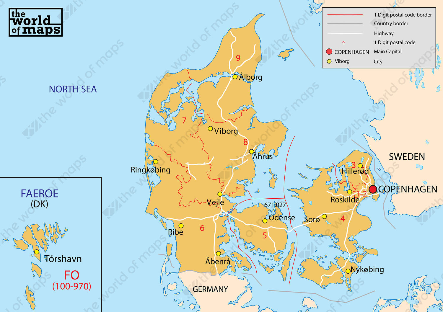 Digital postcode map Denmark 1digit 77 The World of Mapscom