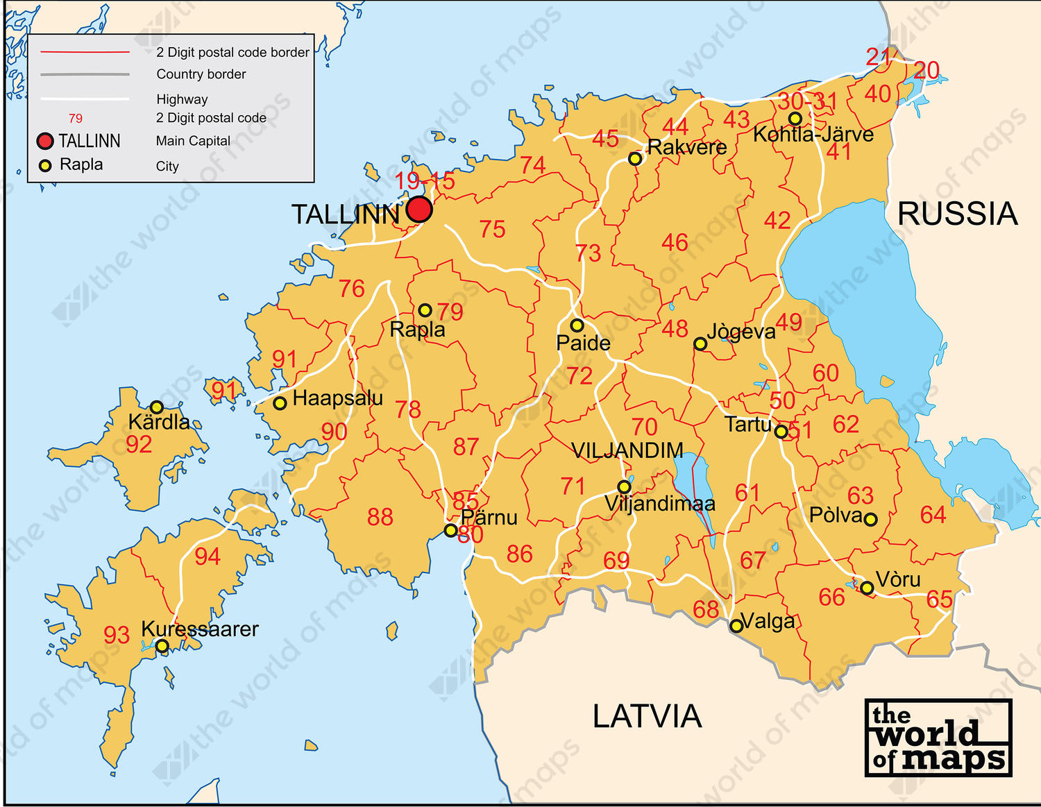Digital postcode map Estonia 2-digit
