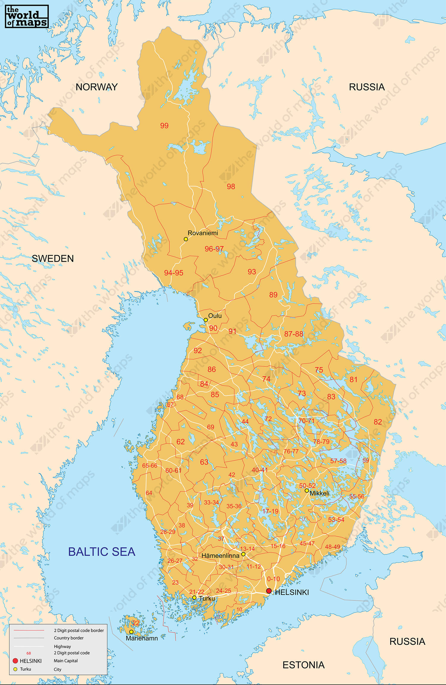 Digital postcode map Finland 2-digit 79 | The World of Maps.com