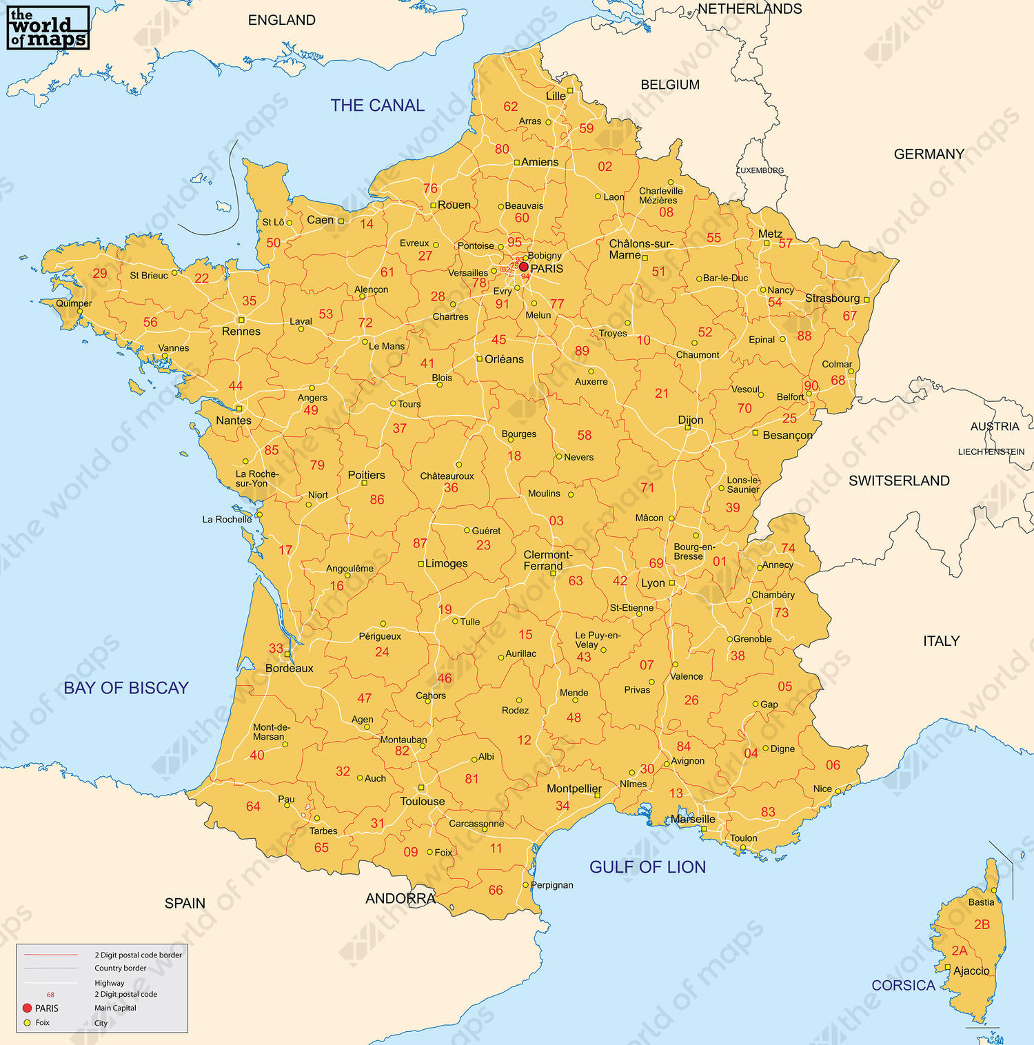 Digital postal code map France 2-digit 80 | The World of Maps.com