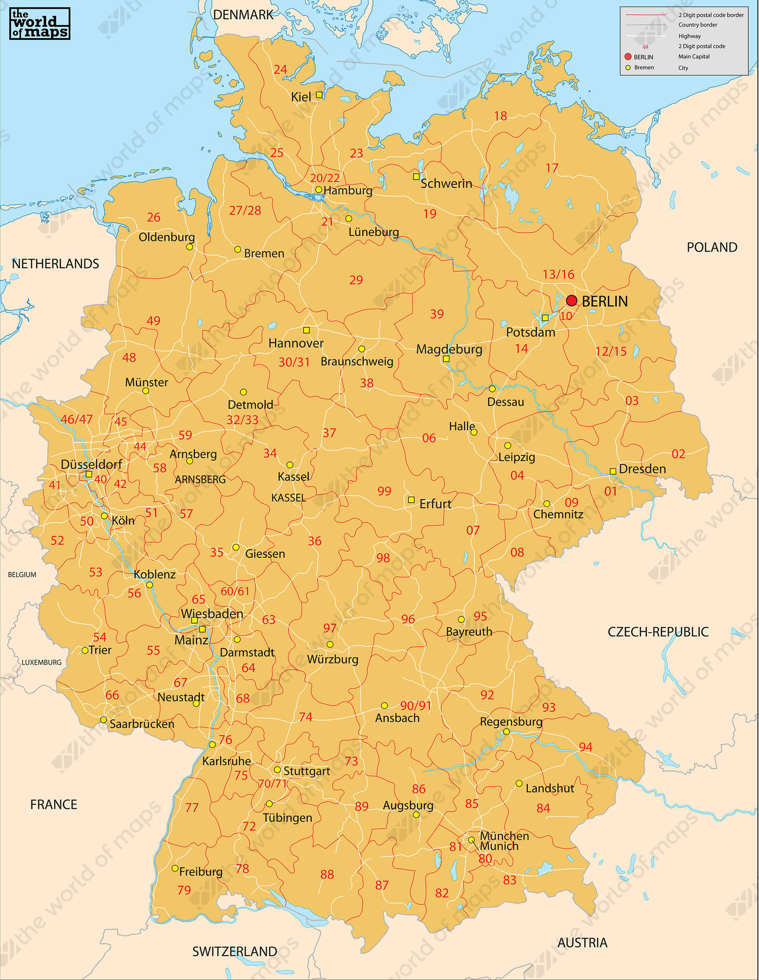 Digital postcode map Germany 2digit 81 The World of Mapscom