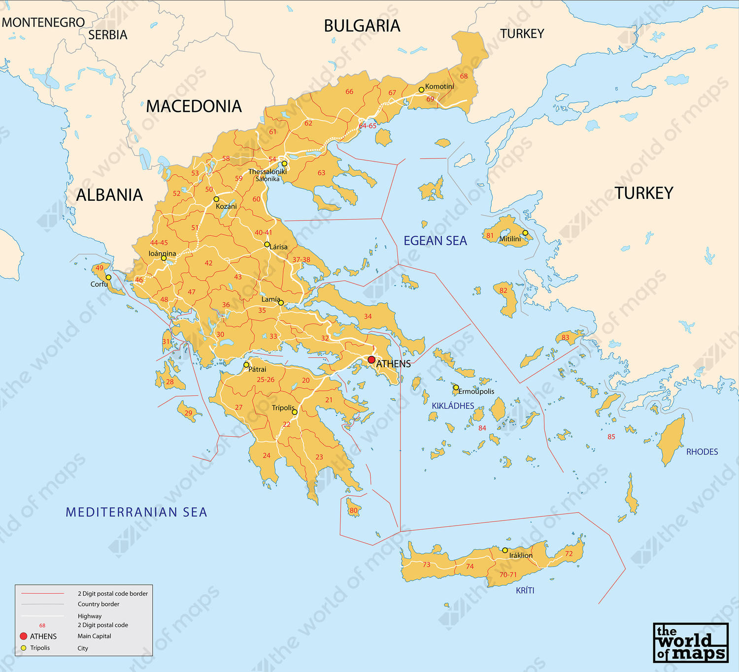 digital postal code map greece 2 digit