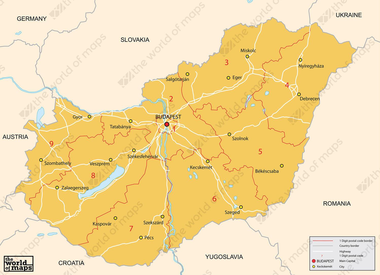 Digital postcode map Hungary 1digit 83 The World of Mapscom