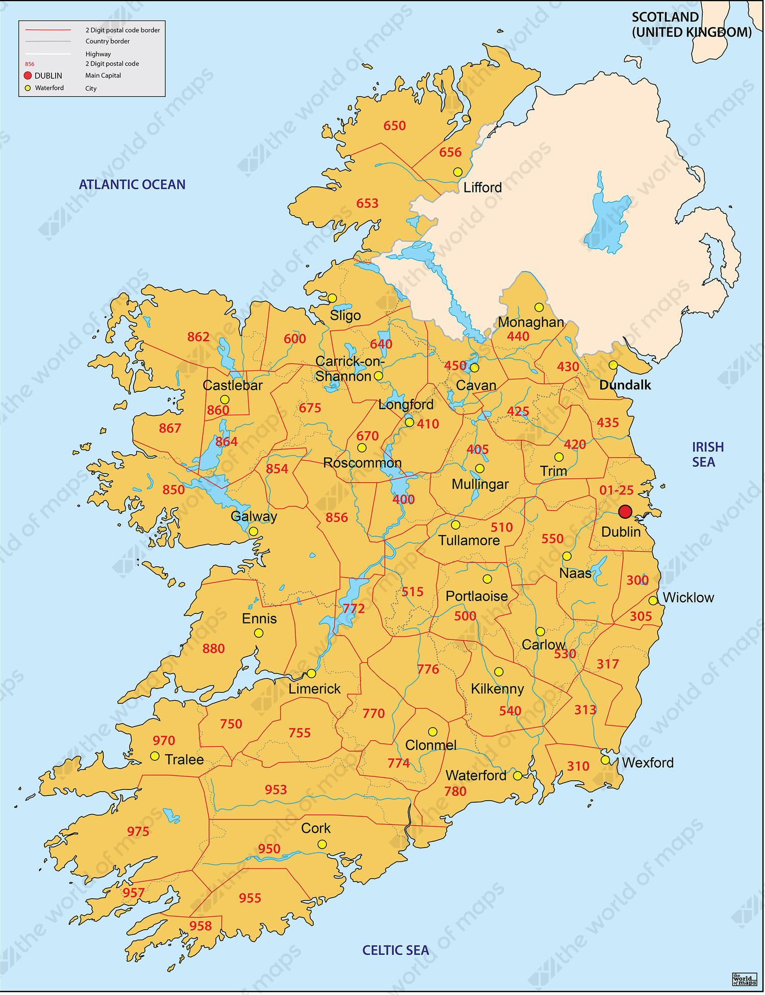 Country Map Of Ireland.Digital Postcode Map Ireland 3 Digit 650 The World Of Maps Com