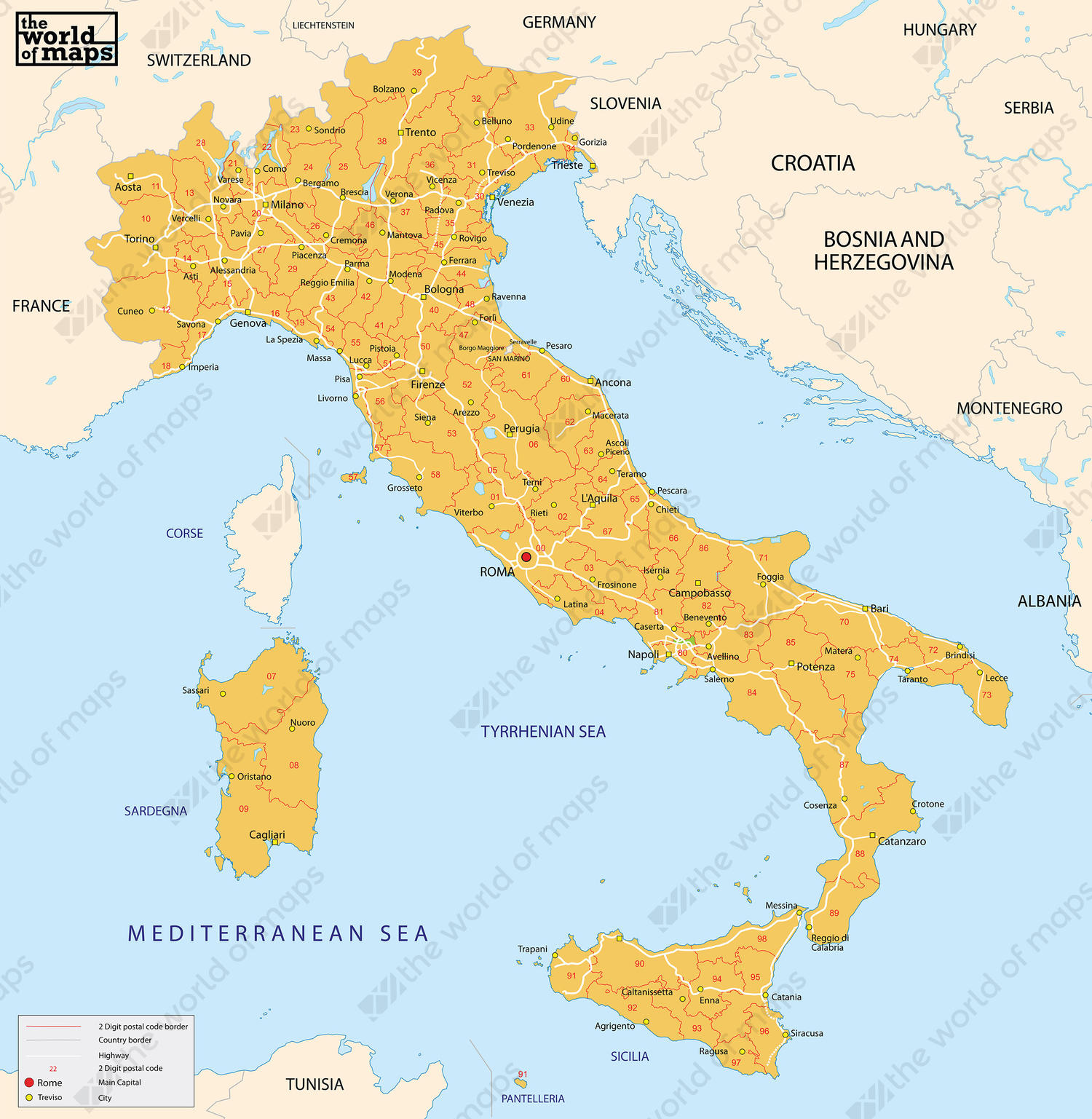 Capital Of Italy Map.Digital Postcode Map Italy 2 Digit 86 The World Of Maps Com