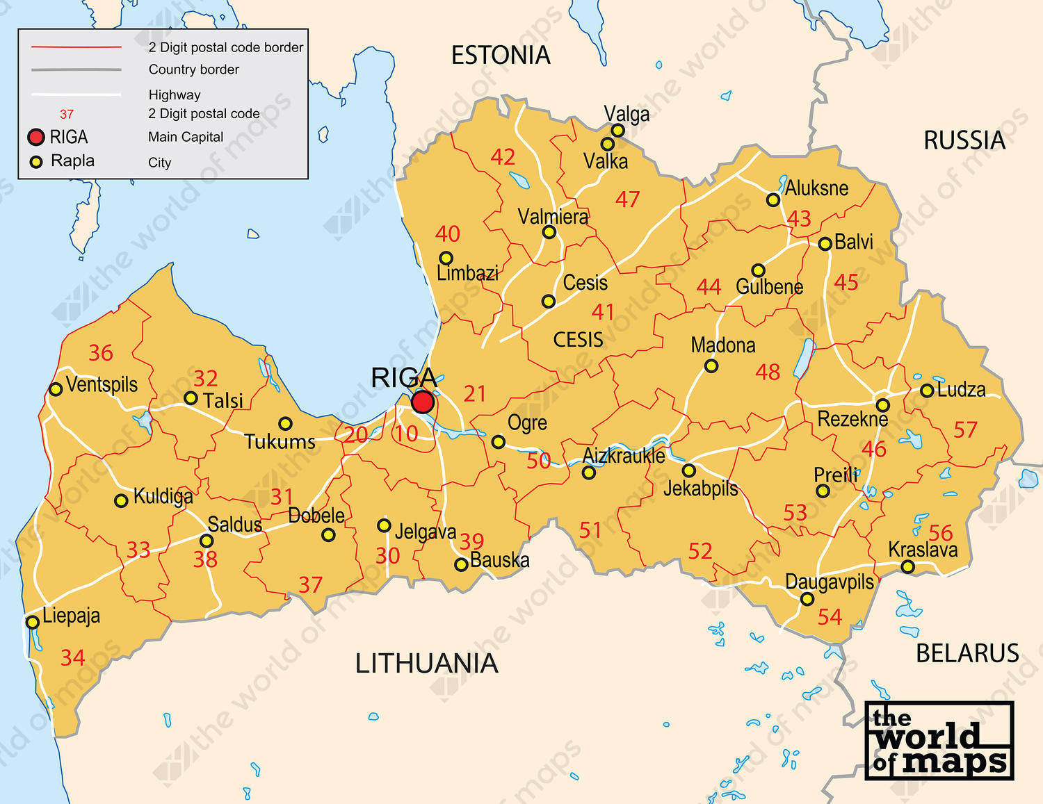 Digital postcode map Latvia 2digit 87 The World of Mapscom