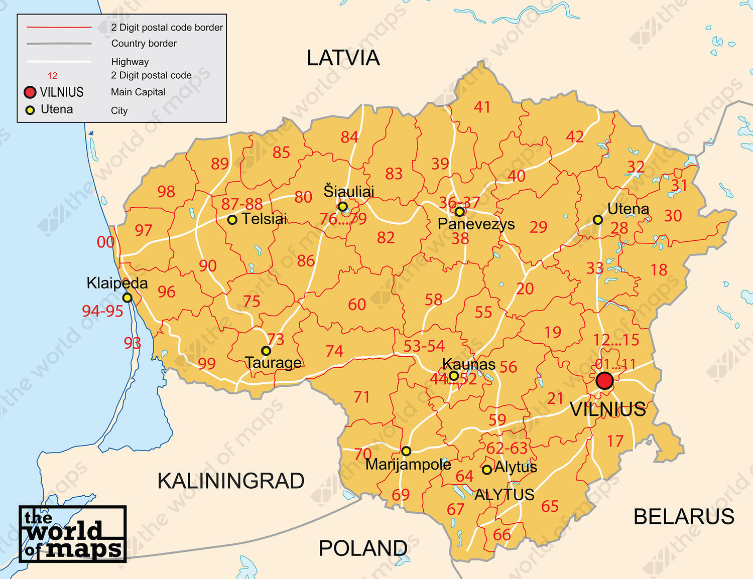 Digital postcode map Lithuania 2-digit 88 | The World of Maps.com