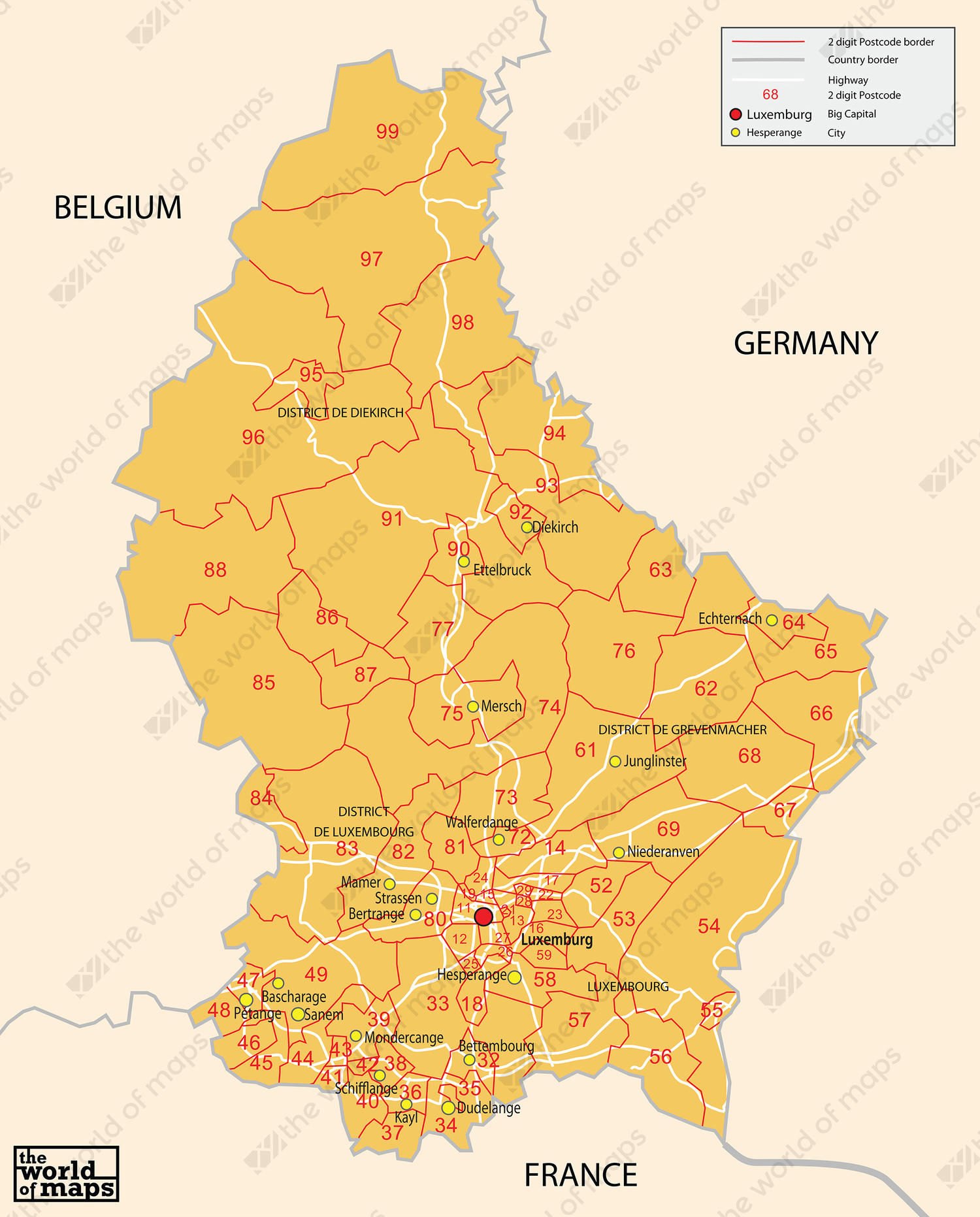 Digital Postcode Map Luxembourg Digit The World Of Mapscom - Luxembourg map
