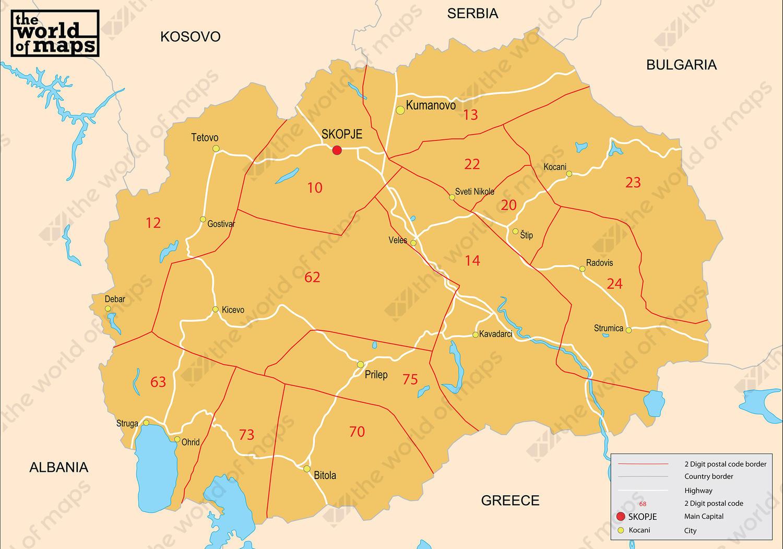 Digital postal code map Macedonia 2-digit