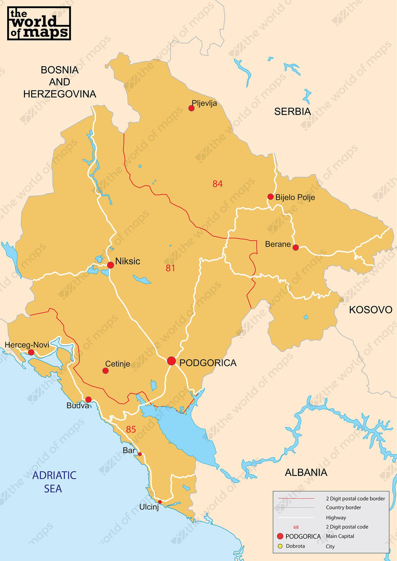 Digital ZIP code map Montenegro 2-digit