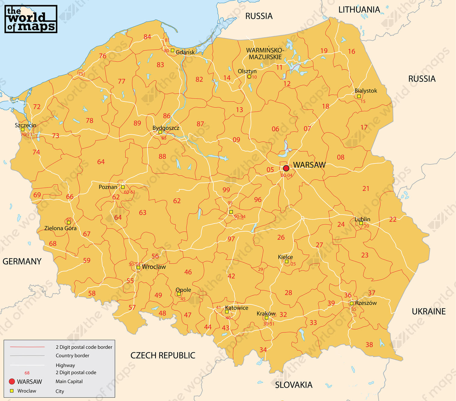 Capital Of Poland Map.Digital Postcode Map Poland 2 Digit 202 The World Of Maps Com