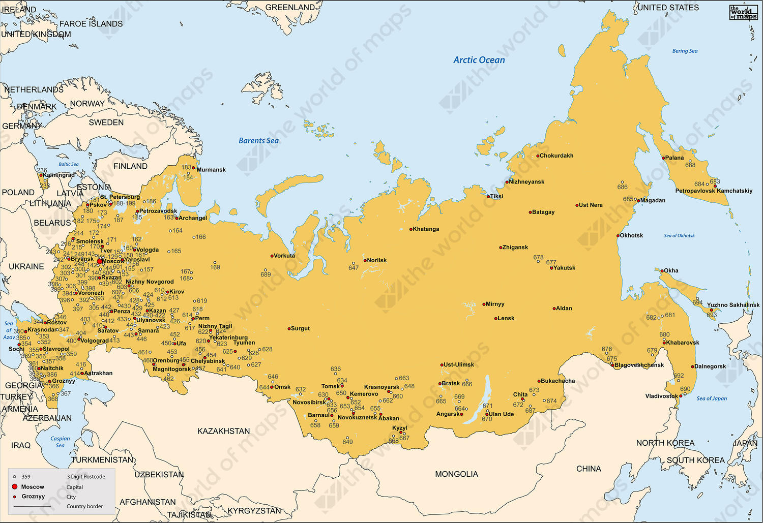 Digital Postcode Map Russia 3digit 258 The World of Mapscom