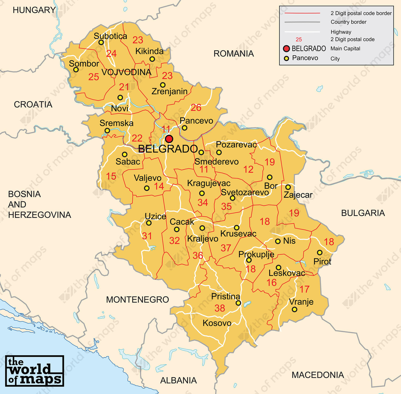 Digital postcode map Serbia 2digit 205 The World of Mapscom