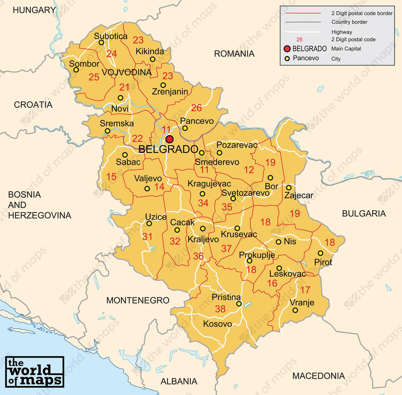 Digital Postcode Map Serbia 2 Digit 205 The World Of Maps Com