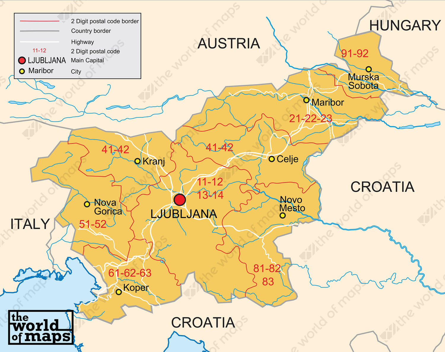 Picture of: Digital Postcode Map Slovenia 2 Digit 207 The World Of Maps Com