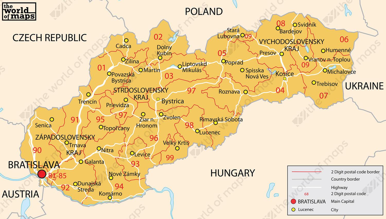 Digital ZIP code map Slovakia 2-digit 206 | The World of Maps.com