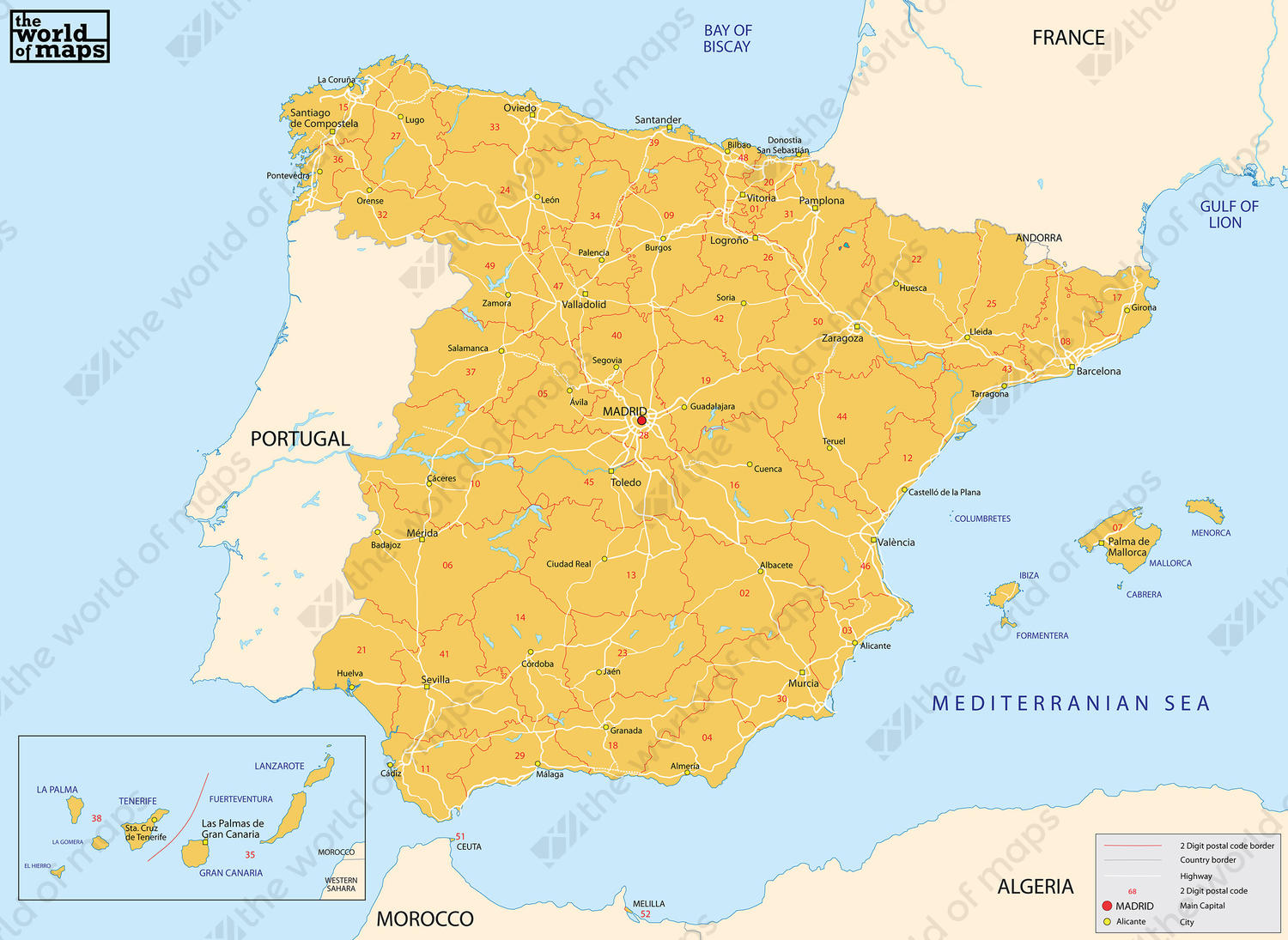 Map Of Spain In The World.Digital Postcode Map Spain 2 Digit 208 The World Of Maps Com