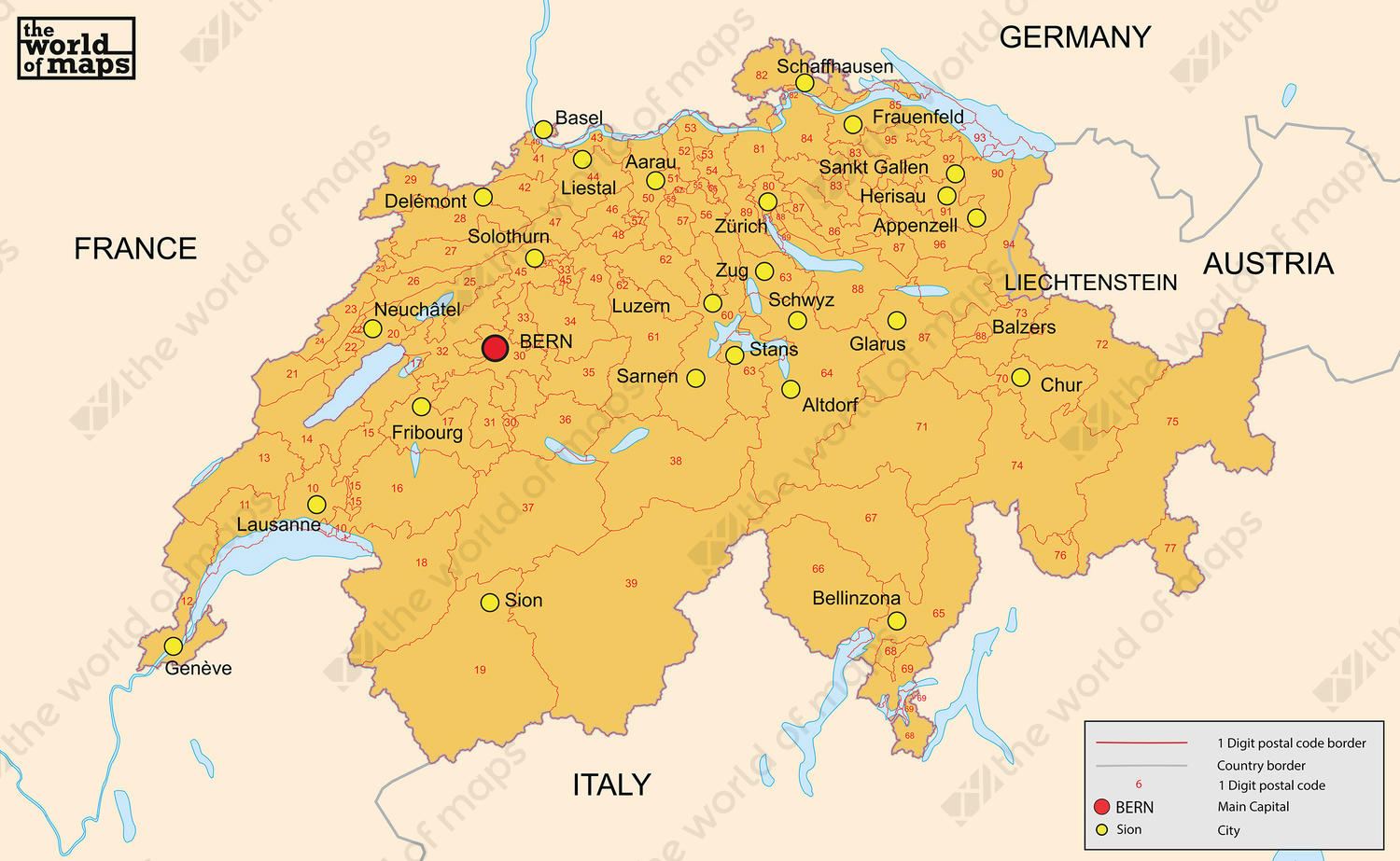 Digital postcode map Switzerland 2-digit
