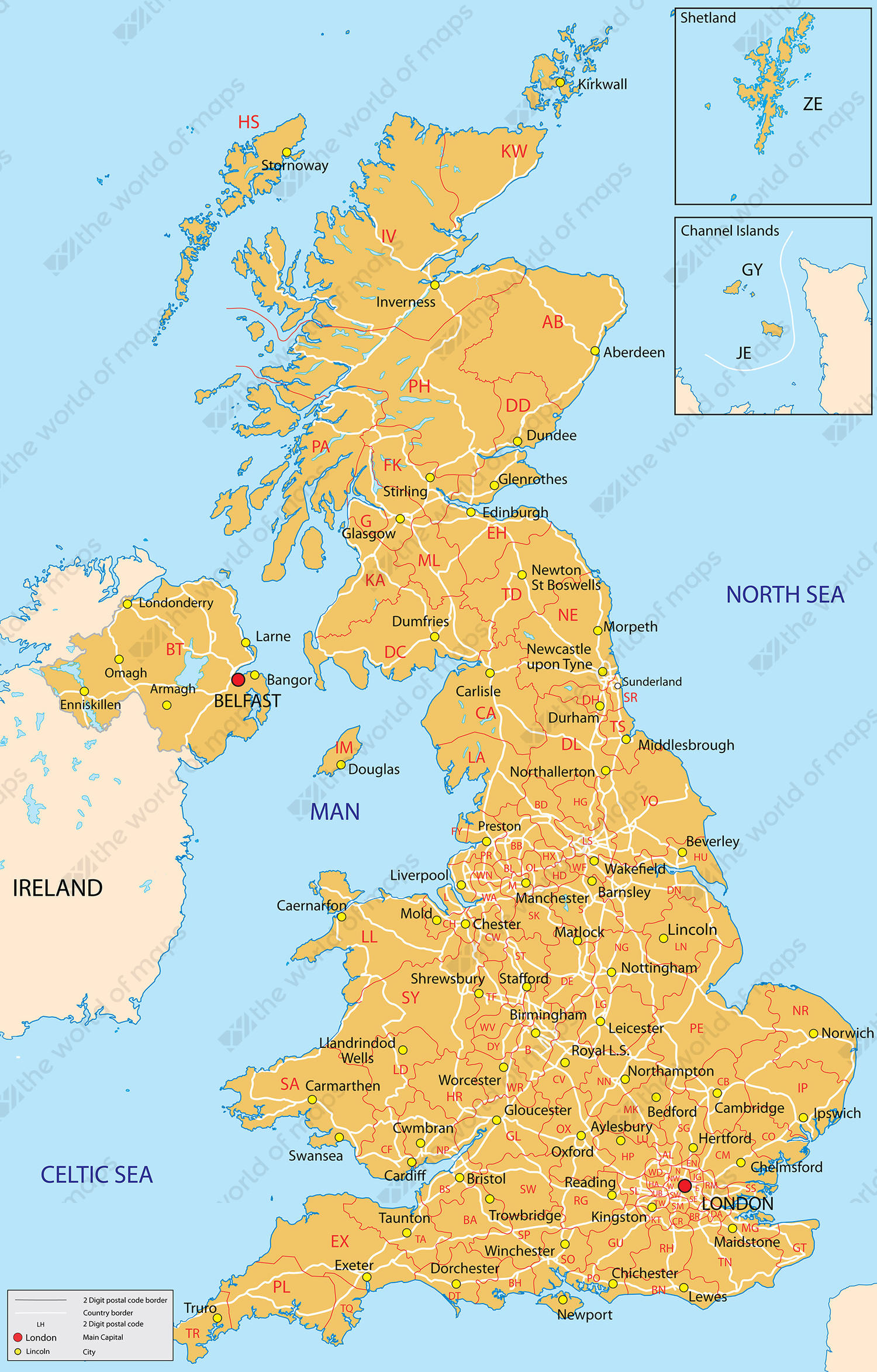 Digital postcode map United Kingdom 2-digit