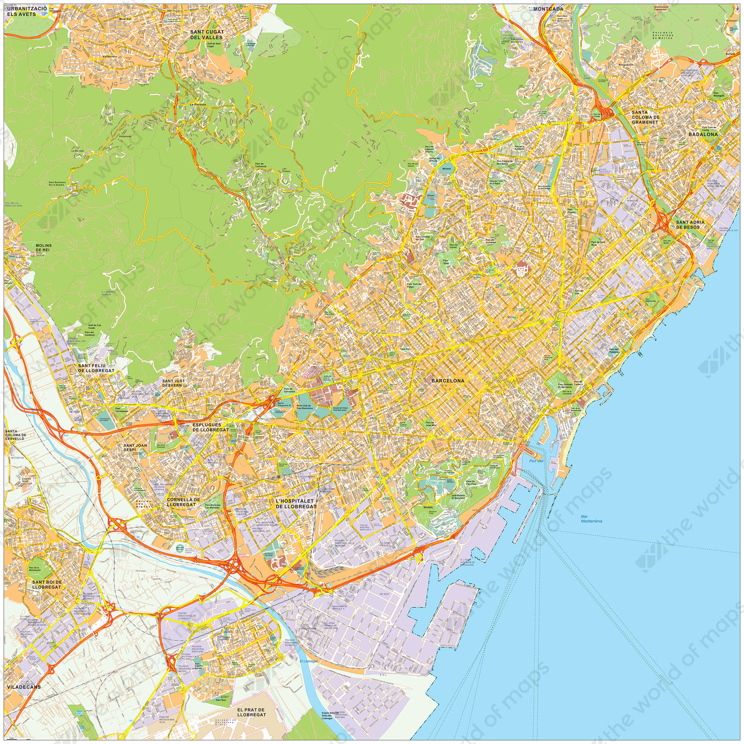 Digital City Map Barcelona 467 The World Of Maps Com