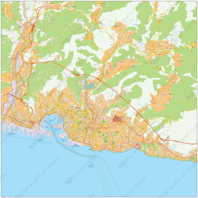 Digital map Genoa
