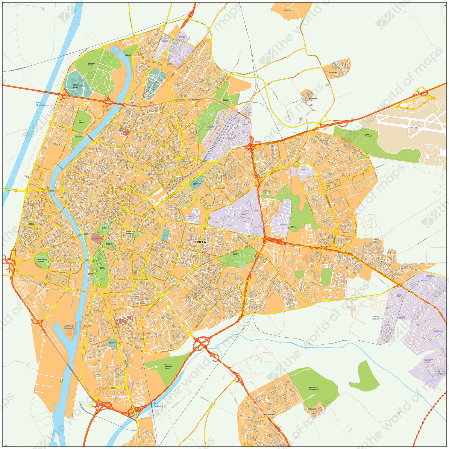 Digital City Map Seville 493 | The World of Maps.com