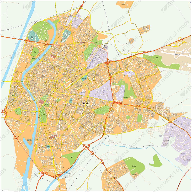 Digital City Map Seville 493 The World Of Maps Com