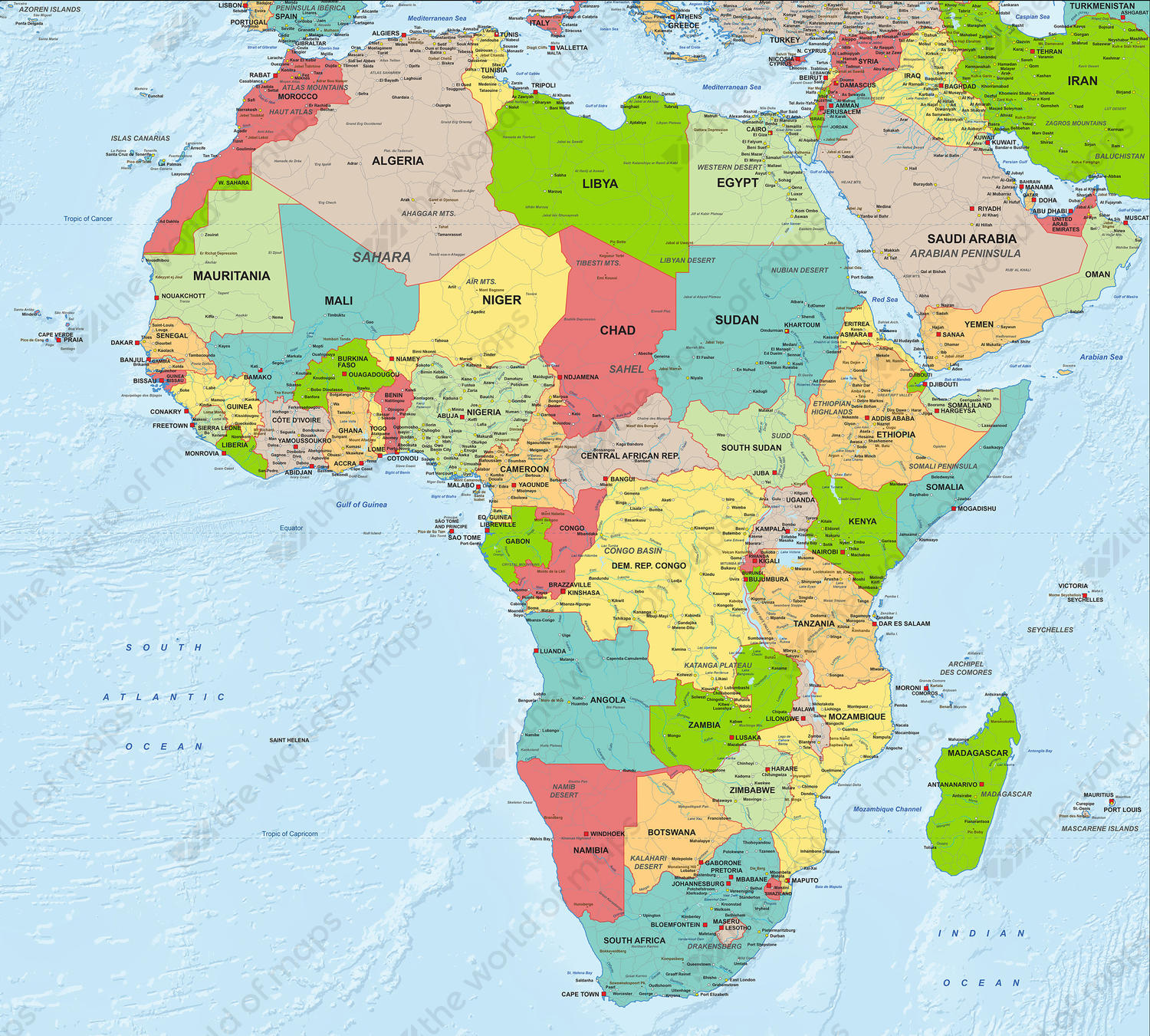 Digital Political Map Africa 1282 | The World of Maps.com