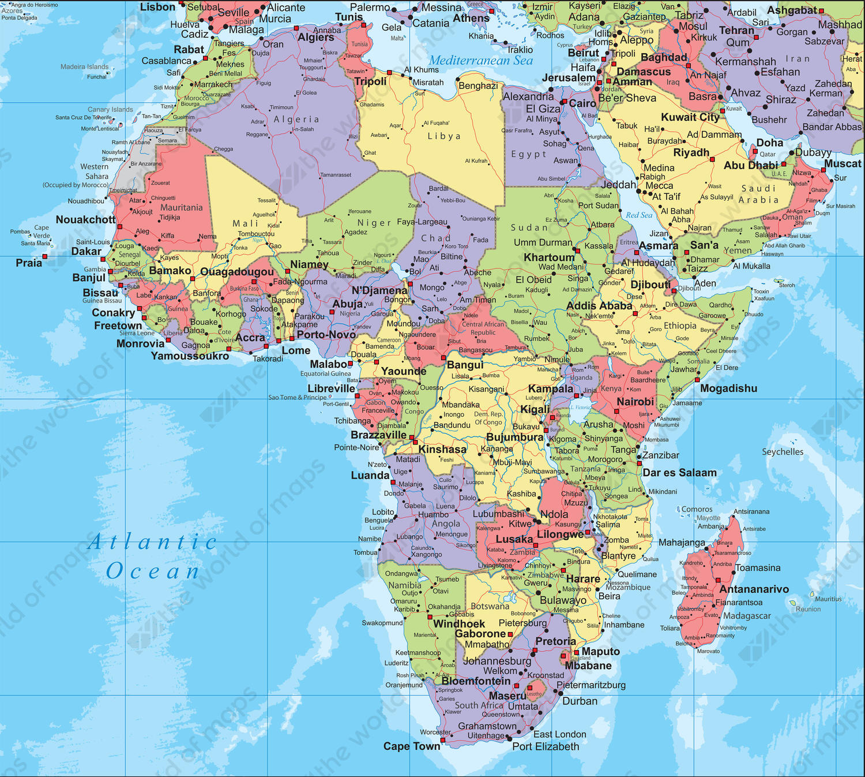 Digital Political Map Africa 264 The World of Mapscom